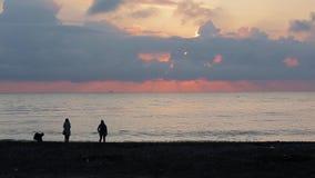 De vrienden lopen langs het strand bij zonsondergang 002 stock video