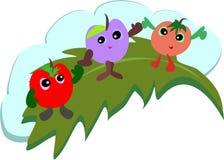 De Vrienden van het fruit op een Blad Stock Foto's
