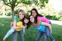 De Vrienden van het meisje in het Park Stock Afbeelding