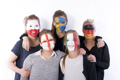 De vrienden van het voetbalventilators van de voetbal Royalty-vrije Stock Foto