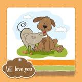 De vriendschap van de hond & van de kat Stock Afbeeldingen