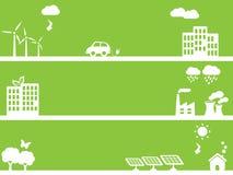 De vriendschappelijke groene steden van Eco Royalty-vrije Stock Afbeeldingen