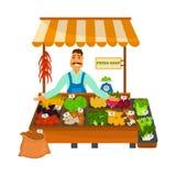 De vriendschappelijke plantaardige illustratie van de winkelkleur voor Web en mobiel ontwerp Royalty-vrije Stock Afbeelding