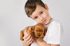 De vriendschapsconcept van het kindhuisdier - Portret van weinig jongen met rood puppy op witte achtergrond Royalty-vrije Stock Afbeeldingen
