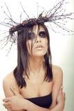 De vrij donkerbruine vrouw met maakt omhoog als demon Royalty-vrije Stock Foto