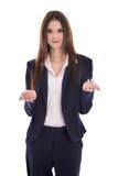 De vrij geïsoleerde jonge bedrijfsvrouw verklaart iets met haar Stock Foto