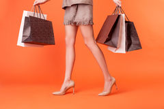 De vrij jonge gestileerde vrouw winkelt met vreugde Stock Foto's