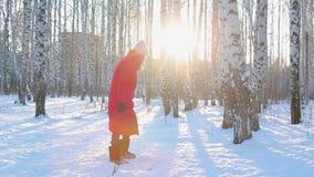 De vrij jonge vrouw in rood de winterjasje en gevoelde laarzen loopt in schilderstadspark met berken en werpt sneeuw stock footage