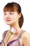 De vrij rode vrouw met roze nam toe Royalty-vrije Stock Afbeeldingen
