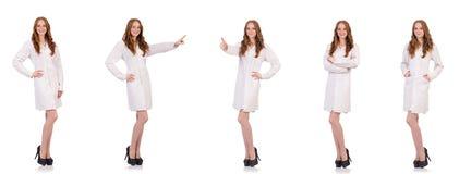 De vrij vrouwelijke die arts op wit wordt geïsoleerd stock foto