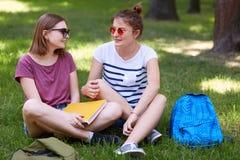 De vrij vrouwelijke kereltjes in vrijetijdskleding bekijkt vreugdevol elkaar, hebt rust na lezing voor definitief examen, zit op  royalty-vrije stock fotografie