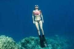 De vrije duik van de vrouw en het snorkelen op een koraalrif stock foto's