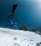 De vrije duiker onderzoekt overzeese bodem stock afbeelding