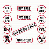 De vrije geplaatste zegels van bisphenol-a en van pvc Stock Fotografie