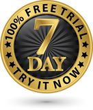 de vrije proef van 7 dagen probeert het nu gouden etiket, vectorillustratie Stock Foto