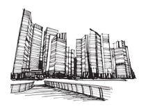 De vrije stad van de schets panoramische Singapore van de handtekening Royalty-vrije Stock Foto's