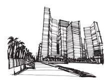 De vrije stad van de schets panoramische Singapore van de handtekening Stock Fotografie