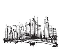 De vrije stad van de schets vector panoramische Singapore van de handtekening Stock Afbeelding