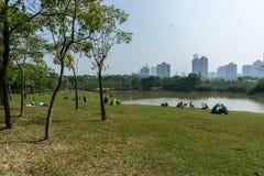 De vrije tijd van het het grasmeer van het weekendpark Royalty-vrije Stock Afbeeldingen