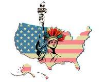 De vrijheid apache verenigde van de de vlagkaart van Amerika van de staat vectordruk als achtergrond stock illustratie