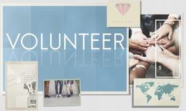 De vrijwilligershulp staat Liefdadigheid bij die het Concept van de de Diensthulp geven royalty-vrije stock fotografie
