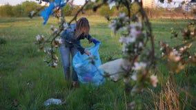 De vrijwilligersvrouw verzamelt huisvuil in het park onder de takken van een mooie appelbloesem Het probleem van binnenlands stock footage