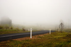 De vroege Mist van de Ochtend op Weg Stock Foto's