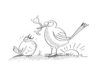 De vroege vogel vangt de worm Stock Foto's