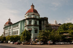 De vroegere koloniale bouw, Rangoon, Myanmar Stock Foto's
