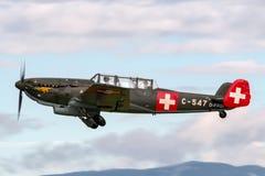 De vroegere Swiss Air-Kracht EKW c-36 multifunctionele vliegtuigen bouwde 1930's en 1940's in stock fotografie
