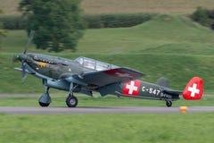 De vroegere Swiss Air-Kracht EKW c-36 multifunctionele vliegtuigen bouwde 1930's en 1940's in stock afbeelding