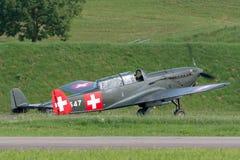 De vroegere Swiss Air-Kracht EKW c-36 multifunctionele vliegtuigen bouwde 1930's en 1940's in stock foto