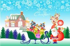 De vrolijke achtergrond van de Kerstmiskaart met de Kerstman, gift en slee - vectoreps10 Stock Afbeelding