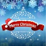 De vrolijke achtergrond van de Kerstmisviering met de rode realistische hoed van de lintbanner royalty-vrije illustratie