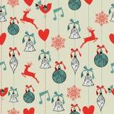 De vrolijke achtergrond van het Kerstmis naadloze patroon. Stock Afbeelding