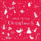 De vrolijke achtergrond van de Kerstmisvakantie met reeks Kerstmisdingen Royalty-vrije Stock Fotografie