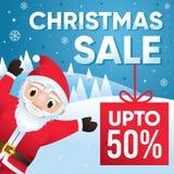 De vrolijke achtergrond van de Kerstmisverkoop met Santa Claus-karakter Stock Foto