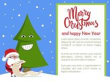 De vrolijke Affiche Santa Tree van het Kerstmis Gelukkige Nieuwjaar Stock Foto's