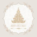 De vrolijke affiche van het Kerstmismalplaatje, groetkaart Stock Fotografie