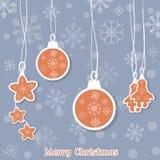 De vrolijke ballen en het speelgoed van Kerstmis mooie Kerstmis Stock Foto