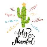 De vrolijke Banner van Kerstmis Gelukkige cactus in Kerstmis Royalty-vrije Stock Foto