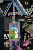 De Vrolijke Begraafplaats is een begraafplaats in het dorp van SăpânÈ› a, MaramureÅŸ provincie, Roemenië Royalty-vrije Stock Afbeeldingen