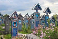 De Vrolijke Begraafplaats in Sapanta, Roemenië Stock Foto's