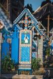De vrolijke begraafplaats van Sapanta, Maramures, Roemenië Die begraafplaats is uniek in Roemenië en in Stock Foto's