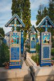 De vrolijke begraafplaats van Sapanta, Maramures, Roemenië Die begraafplaats is uniek in Roemenië en in Th Royalty-vrije Stock Afbeeldingen