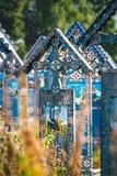 De vrolijke begraafplaats van Sapanta, Maramures, Roemenië Die begraafplaats is uniek in Roemenië en in Th Stock Foto