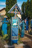 De vrolijke begraafplaats van Sapanta, Maramures, Roemenië Die begraafplaats is uniek in Roemenië en in Th Stock Foto's