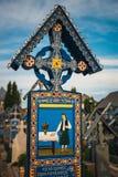 De vrolijke begraafplaats van Sapanta, Maramures, Roemenië Die begraafplaats is uniek in Roemenië en in Th Stock Afbeelding