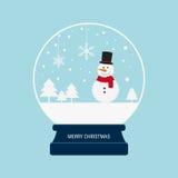 De vrolijke bol van de Kerstmissneeuw met sneeuwman Stock Foto