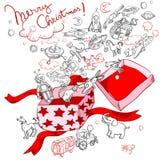 De vrolijke doos van de Kerstmisgift Royalty-vrije Stock Afbeeldingen